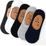 Tex Home Unisex Mercerised Anti-Slip Cotton Loafer Socks (Grey White Blue Black, Free Size) - Pack of 5