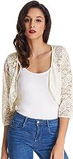 Women's Floral Lace Cardigan Three Quarter Sleeve Bolero