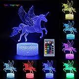 Veilleuse Licorne 3D pour Enfants, Fille Lampe LED USB Veilleuse Illusion Horse lumière de Table aux Couleurs Changeantes ave
