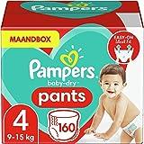 Pampers Maat 4 Luierbroekjes (6-10 kg), Baby-Dry, 160 Stuks, Tot 12 uur Bescherming rondom tegen Lekken