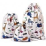 Amoyie – 3 pezzi organizer borsa cotone con coulisse per bimba abiti pannolini giocattoli matite colorate caramella regalo –