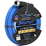 "Zephyr Ultra-Performance Rubber Garden Hose - 1/2"" x 15' (4.57m) w/ 10 year Warranty - With Brass End-fittings, Blue"