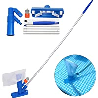 Pool Mini Jet Vacuum Cleaner with w/Brush, Bag, 5 Pole Sections - Portable Home Swimming Pool Pond Mini Jet Vacuum Head Cleaning Suction Spa Hot Tub Vacuum