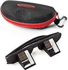 TOPSIDE Sicherungsbrille (Kletterbrille   Schwarz) in Premium-Qualität - inkl. Etui, Karabinerhaken, Brillenband, Aufbewahrungsbeutel und Mikrofaser-Reinigungstuch – Sichern ohne Nackenschmerzen