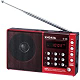 XHDATA® (Handbuch in DE) D-38 FM-Stereo / MW / KW / MP3-Player / DSP Vollband Radio D38 (rot)
