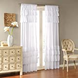 Madison Park White Living Room, Cottage Country-Rod Pocket Ruffle Bedroom, Anna Solid Voile Window Curtains, 50X63, 1-Panel P
