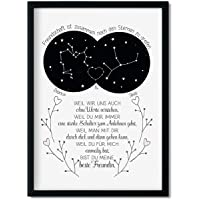 Geschenk beste Freundin Kunstdruck Freundschaft Sternzeichen personalisiert Freundschaftsgeschenk optional mit Rahmen