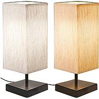 [2 Pièces] Lampe de Chevet Tactile, Bomcosy Lampe de Table Dimmable,D C5V USB Interface, Base Noire avec Abat-jour en…