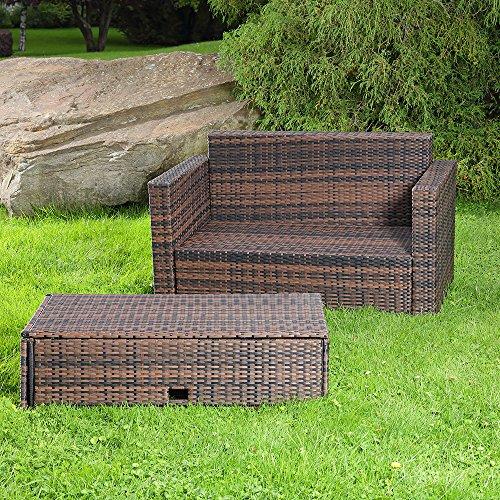 Gartenmöbel Lounge Sofa mit klappbarer Bank / Tisch in braun aus Polyrattan - 4