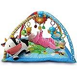 VTech Mantita de juego cantarín 2 en 1, manta y gimnasio de aprendizaje para bebé con más de 40 canciones, frases y melodías,