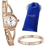 JewelryWe Juego de Pulsera con Reloj Oro Rosa, Moda Reloj de Diamantes Brillantes con Pulsera,Regalos dias de Madre