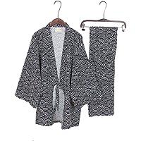 Les Hommes de Style Japonais Robes Kimono Pyjamas Costume Robe Robe Set-Vague Noire - L