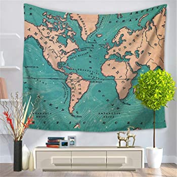 ZHH World Map Tapestry Blue Ocean Indian Wall Hanging Bohemian ...
