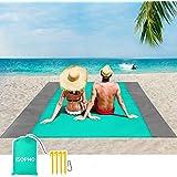 ISOPHO Alfombra de Playa Esterilla Playa, Manta Picnic Impermeable Manta de Picnic 210 X 200cm Manta de Playa con 4 Clavos Fi