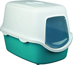 Trixie Vico Cat Litter Tray with Dome (Turquoise/White)