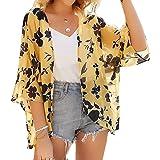 Kimono Cardigan Mjuer - Cardigan Floral Mujer, Camisolas y Pareos Pareo Playa Chal Kimono Cover Up Manga 3/4 Loose Floral