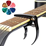 Cejillas Gitarre Uktunu Premium Kapodaster Capo für Gitarre mit 6Picks Capodaster für 6-Saiten Akustik Westerngitarre E-Gitar