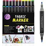 Rotuladores de tela RATEL, 24 con 20 marcadores textiles doble punta, 4 plantillas de dibujo, permanente y lavable Marcadores