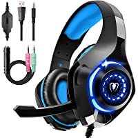 Gaming Headset für PS4 PS5 PC Xbox Series, 3.5 mm Deep Bass Stereo Surround Sound PS4 Headset mit Noise Cancelling…