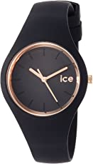 Ice-Watch - ICE glam Black Rose-Gold - Schwarze Damenuhr mit Silikonarmband