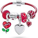 Incisioni personalizzate Iniziali Amore Anniversario BFF Amicizia Cuore San Valentino Starter Perline Multi Charm Bracciale G