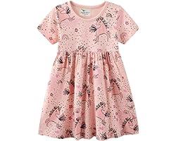 Vestito Bambina Cotone Organico, Vestito T-Shirt Manica Lunga & Manica Corta Ricamo Floral Striscia Cartoon Animale Casuale V