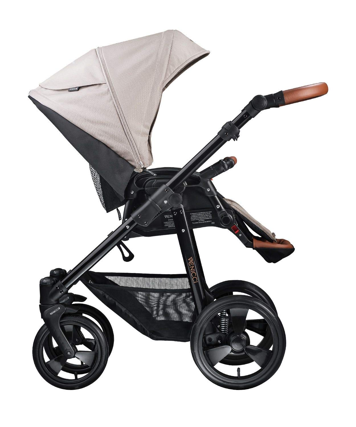 Venicci Gusto 2-in-1 Travel System - Cream - with Carrycot + Changing Bag + Footmuff + Raincover + Mosquito Net + 5-Point Harness and UV 50+ Fabric + Cup Holder  2-in-1 Pram and Pushchair with custom travel options Suitable for your baby from birth until approximately 36 months 5-point harness to enhance the safety of your child 3
