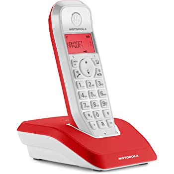 Motorola Startac S1201 DECT Schnurlostelefon (Analog, Freisprechen, ECO-Modus, Displaybleuchtung auf Gerätefarbe abgestimmt) rot