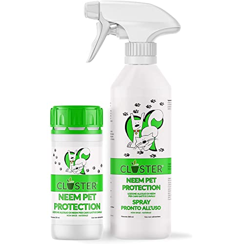 CLOSTER Neem Pet Protection Olio di Neem Spray Pronto all'Uso 500 ML- Repellente Anti Insetti Antipulci Antiparassitario Contro Zecche Pulci Zanzare Mosche Acari Pidocchi per Cani Gatti E Cavalli