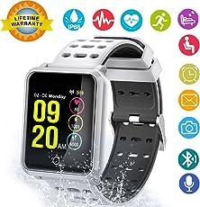 Smart Watch, Hinmay cardiofrequenzimetro fitness tracker Smart braccialetto attività Tracker Bluetooth pedometro, impermeabile touch screen braccialetti per donne uomini bambini con monitoraggio sonno, pedometro conta passi calorie Counter iPhone Android