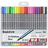 Liquidraw 24 Fineliner färgpennor set fina punktpennor 0,4 mm blandade färger, fineliners färgade pennor