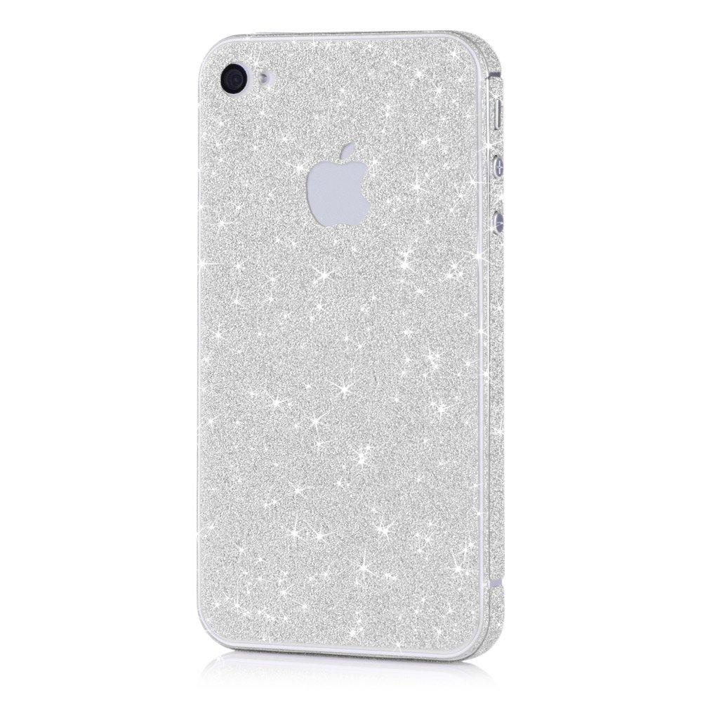 Pellicola MC24® glamour skin effetto glitter per Apple iPhone 4 4s in argento - pellicola adesiva di