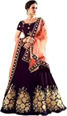 Pd Cloth Villa Women's Silk Semi-Stitched Lehenga Choli(Free Size-Purple)
