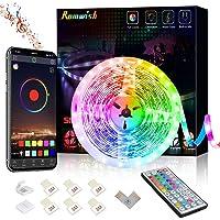 LED Strip Light 5M,Romwish 16.4FT RGB SMD 5050 Bluetooth Music Sync Smart Color Changing Rope Lights, 44 Keys Remote…