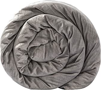 BlanQuil Quilted Weighted Blanket (Grey 15lb) W/Removable Cover, 47x74,