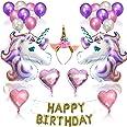 Mumoo Bear Unicorn Party Supplies Set, Glitter Unicorn Headband Unicorn Balloons Gold Happy Birthday Banner Latex and Foil Ba