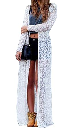 Women Summer Long Sleeve Beach Dress Lace Cardigan Blouse Long ...