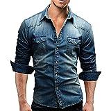 Eastern Corridor-EU Mens Denim Shirts Casual Slim Fit Classic Collar Long Sleeve Button Down Business Shirts