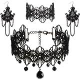 Rovtop Black Lace Choker Beads Chain Pendant Necklace Earring Bracelet Lace Gothic Necklace Bracelets Set Lolita Choker…