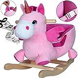 Licorne à Bascule Ceinture de sécurité Fonction sonore Jeu de Bascule pour Enfant Cheval à Bascule Peluche Licorne