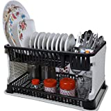 OWLSTONE EXIM LLP Kitchen Organizer Rack with Water Storing Tray (Black)