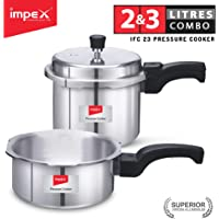 Impex IFC-23 Induction Base Aluminium Pressure Cooker Family Combo with Outer Lid (Set of 2 & 3 Litre)