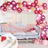 Whaline Balloon Arch & Garland Kit, Burgundy, Pink, Gold Confetti and Rose Metal Latex Balloons Set with 16ft Balloon Strip Tape, 1pcs Tying Tool and 100 Glue Points for Wedding Birthday Party Decor
