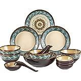 Services de Table 16 Pièces pour 4 avec Vaisselle De Cuisine Résistante Aux Copeaux D'aspect Vintage Simple Ensembles De Gran