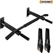 Kore K-WM Wall Mounting Chin Up Bar with Solid One Piece Construction Bar and Ab Straps Fitness Combo
