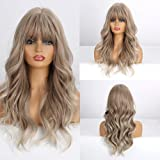 Highlight Brown Blonde Ash Gray Long Wigs Heat Resistant Synthetic Cosplay Wavy Wigs With Bangs for Black Women Afro