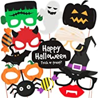 Halloween Party Prop Photo Booth Props DIY Kit for Party Supplies Featuring Boo Pumpkin Ghost Halloween Decorations…