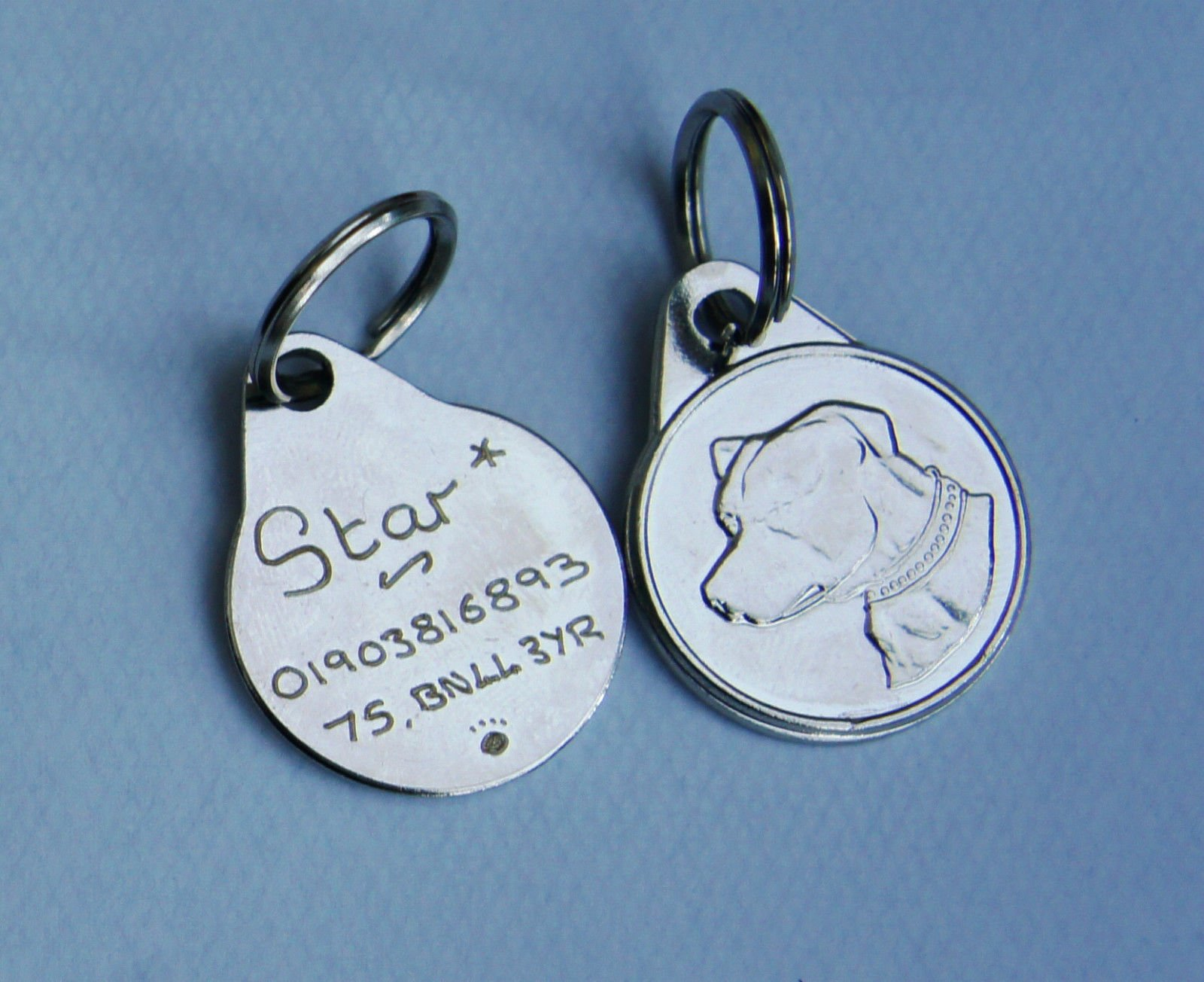 STAFFIE TAG STAFFORDSHIRE BULL TERRIER DOG TAG 25MM HAND ENGRAVED TAG – PLEASE TICK GIFT MESSAGE BOX TO ENTER DETAILS FOR ENGRAVING, MESSAGE US BY CLICKING CONTACT SELLER OR CALL US ON 01903 816893