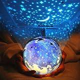 Sudatek, proiettore di stelle con luci LED, luce notturna, girevole a 360°, con cambio colore, lucina notturna per bambini, l
