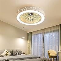 LED Fan Plafonnier Moderne Nordique Dimmable Ventilateur Au Plafond avec Lampe Ultra-Mince Invisible 50W Lustre De…